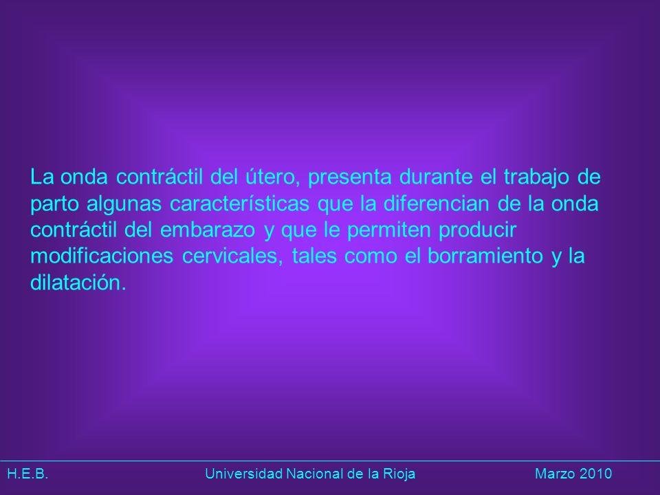 H.E.B. Universidad Nacional de la RiojaMarzo 2010 La onda contráctil del útero, presenta durante el trabajo de parto algunas características que la di