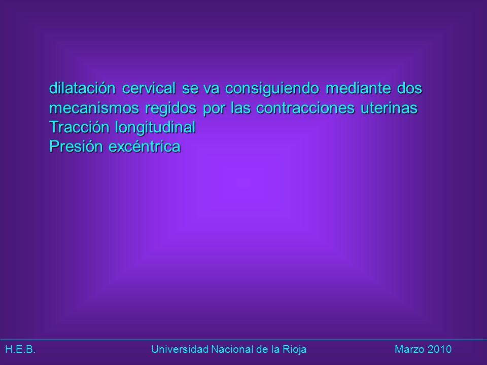 H.E.B. Universidad Nacional de la RiojaMarzo 2010 dilatación cervical se va consiguiendo mediante dos mecanismos regidos por las contracciones uterina