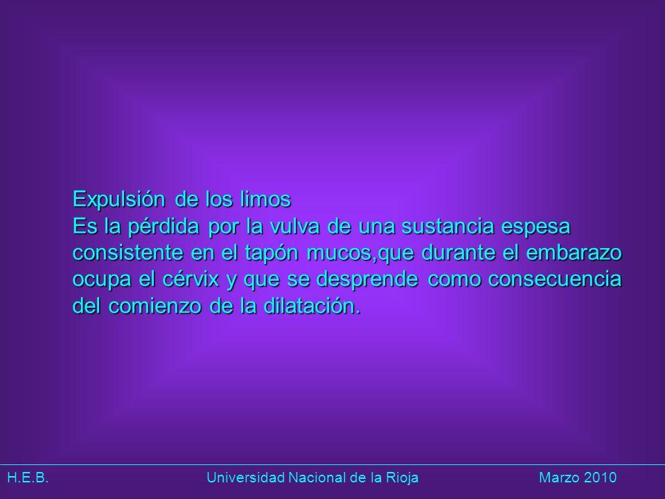 H.E.B. Universidad Nacional de la RiojaMarzo 2010 Expulsión de los limos Es la pérdida por la vulva de una sustancia espesa consistente en el tapón mu