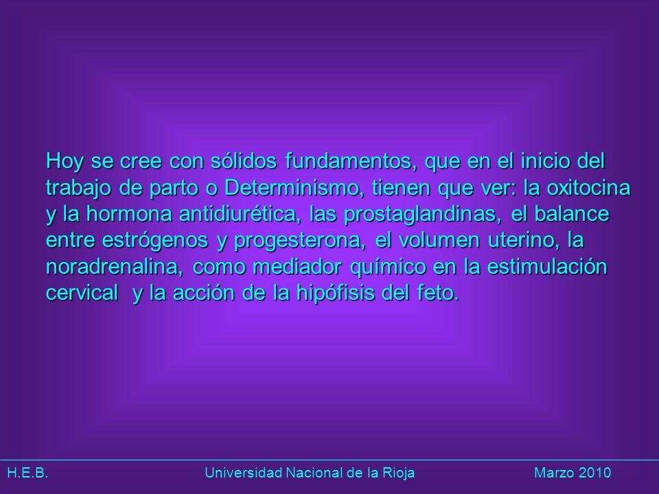 H.E.B. Universidad Nacional de la RiojaMarzo 2010 Hoy se cree con sólidos fundamentos, que en el inicio del trabajo de parto o Determinismo, tienen qu