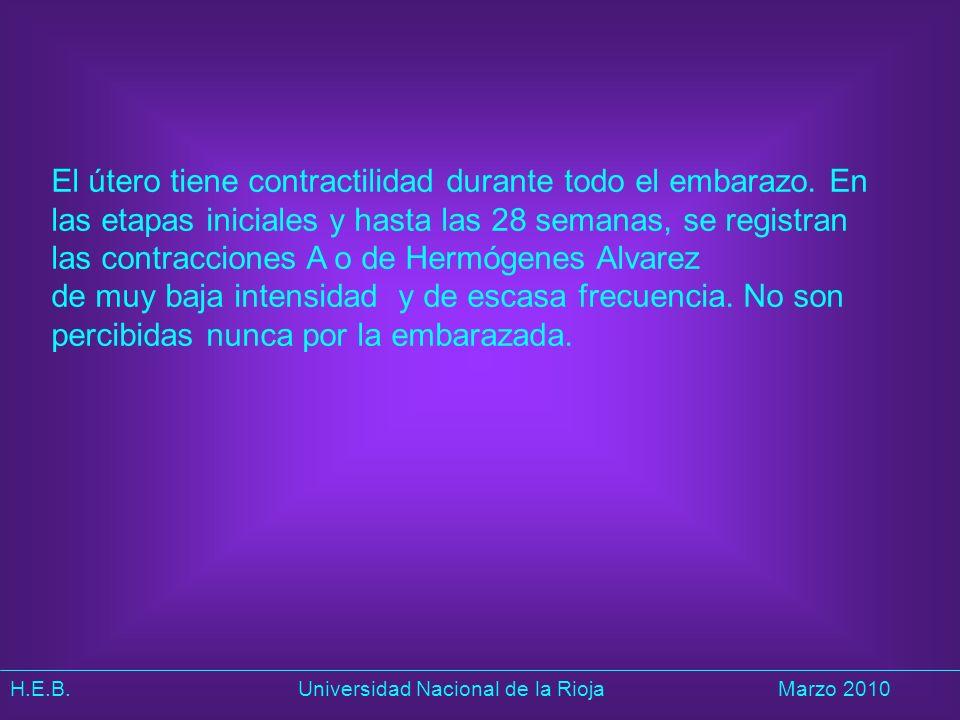 H.E.B. Universidad Nacional de la RiojaMarzo 2010 El útero tiene contractilidad durante todo el embarazo. En las etapas iniciales y hasta las 28 seman