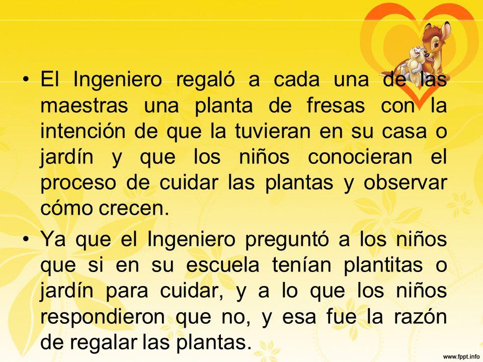 El Ingeniero regaló a cada una de las maestras una planta de fresas con la intención de que la tuvieran en su casa o jardín y que los niños conocieran