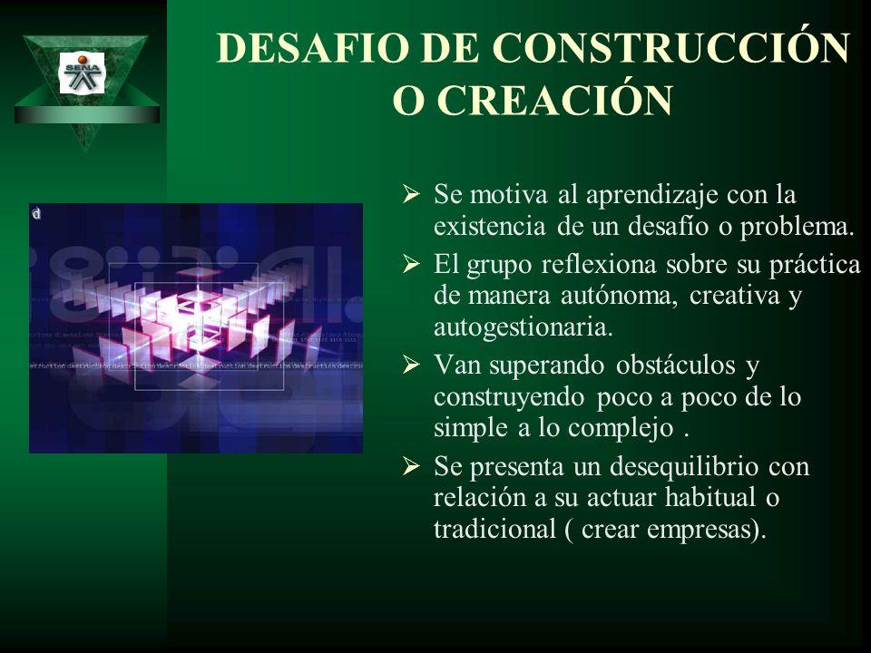 DESAFIO DE CONSTRUCCIÓN O CREACIÓN Se motiva al aprendizaje con la existencia de un desafío o problema. El grupo reflexiona sobre su práctica de maner