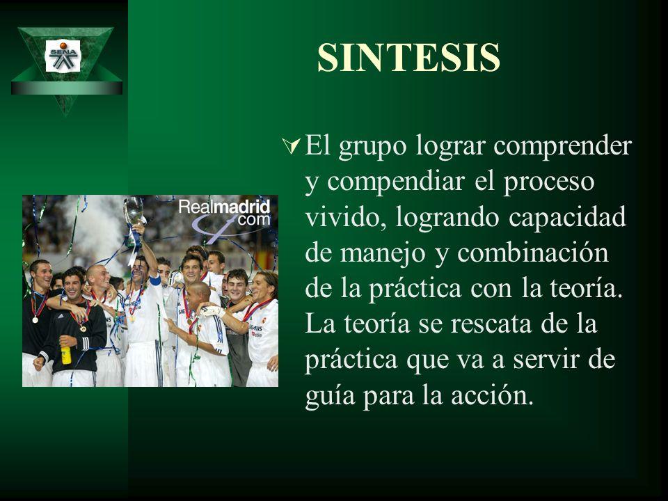 SINTESIS El grupo lograr comprender y compendiar el proceso vivido, logrando capacidad de manejo y combinación de la práctica con la teoría. La teoría