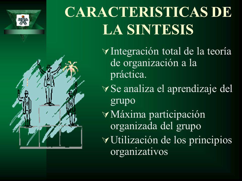 CARACTERISTICAS DE LA SINTESIS Integración total de la teoría de organización a la práctica. Se analiza el aprendizaje del grupo Máxima participación