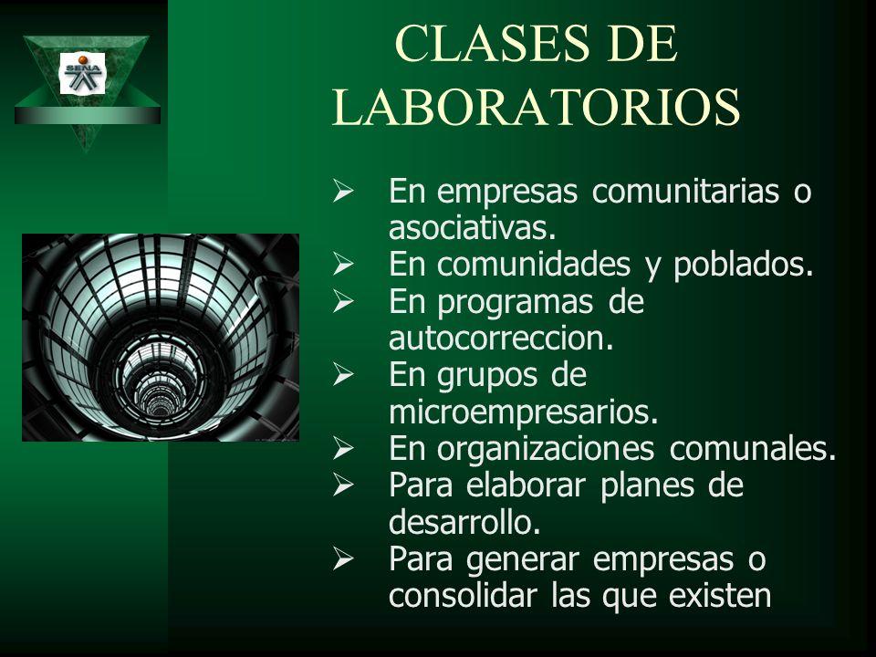 CLASES DE LABORATORIOS En empresas comunitarias o asociativas. En comunidades y poblados. En programas de autocorreccion. En grupos de microempresario