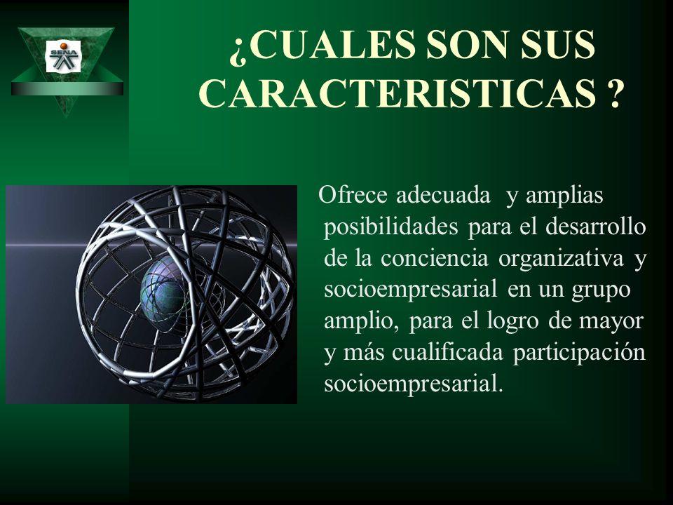 CARACTERISTICAS Sucita una dinámica socio organizativa y socioempresarial, en donde se dan en su totalidad los principios de la Formación Profesional Integral.