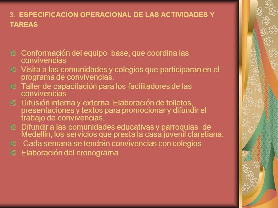 3. ESPECIFICACION OPERACIONAL DE LAS ACTIVIDADES Y TAREAS Conformaci ó n del equipo base, que coordina las convivencias Visita a las comunidades y col