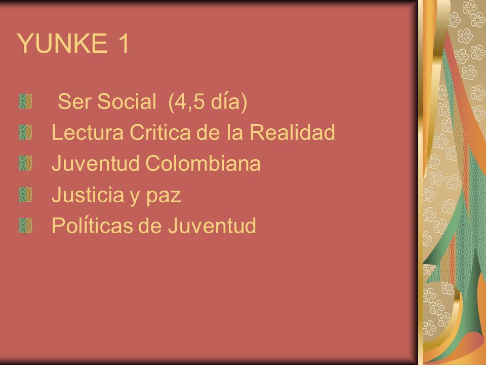 YUNKE 1 Ser Social (4,5 d í a) Lectura Critica de la Realidad Juventud Colombiana Justicia y paz Pol í ticas de Juventud