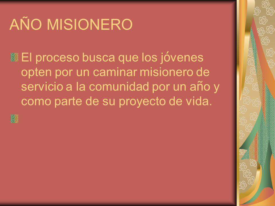 AÑO MISIONERO El proceso busca que los j ó venes opten por un caminar misionero de servicio a la comunidad por un a ñ o y como parte de su proyecto de