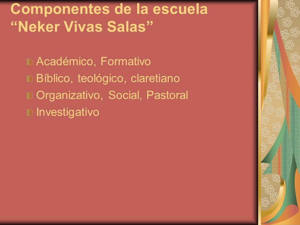 Componentes de la escuela Neker Vivas Salas Académico, Formativo Bíblico, teológico, claretiano Organizativo, Social, Pastoral Investigativo