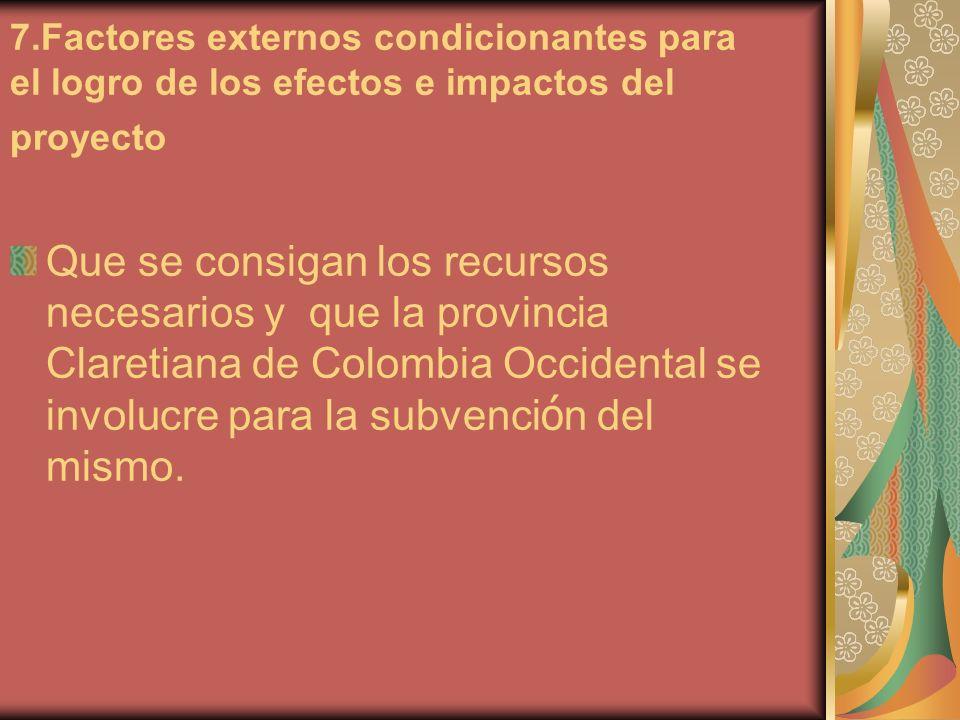 7.Factores externos condicionantes para el logro de los efectos e impactos del proyecto Que se consigan los recursos necesarios y que la provincia Claretiana de Colombia Occidental se involucre para la subvenci ó n del mismo.