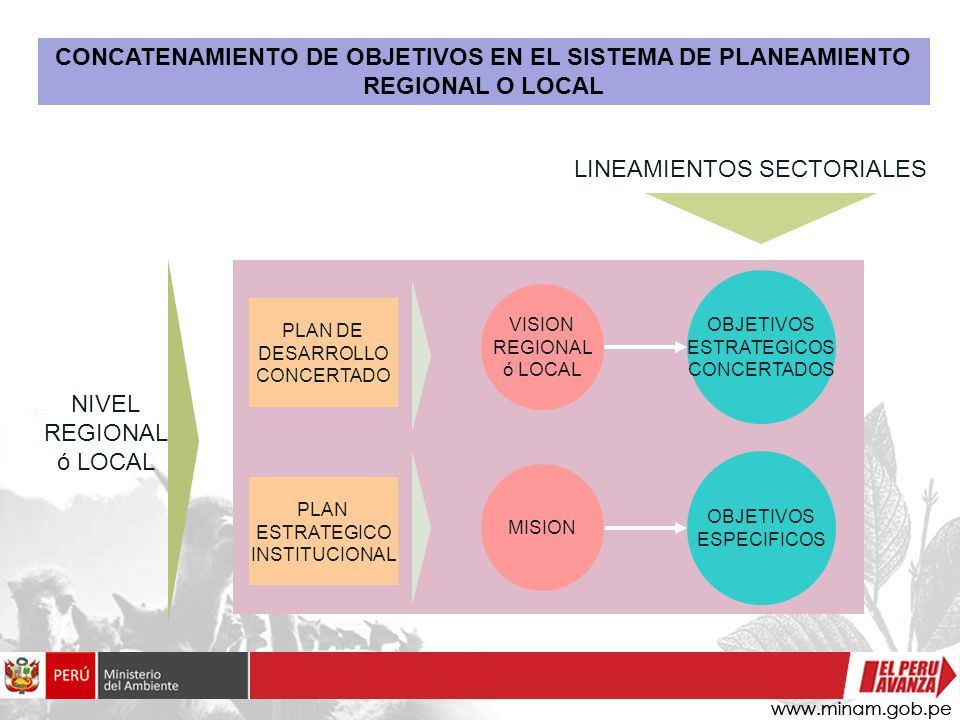 PLAN DE DESARROLLO CONCERTADO PLAN ESTRATEGICO INSTITUCIONAL MISION VISION REGIONAL ó LOCAL LINEAMIENTOS SECTORIALES OBJETIVOS ESTRATEGICOS CONCERTADO