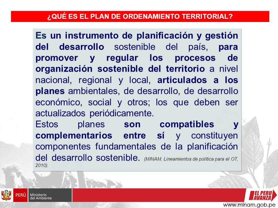 Es un instrumento de planificación y gestión del desarrollo sostenible del país, para promover y regular los procesos de organización sostenible del t