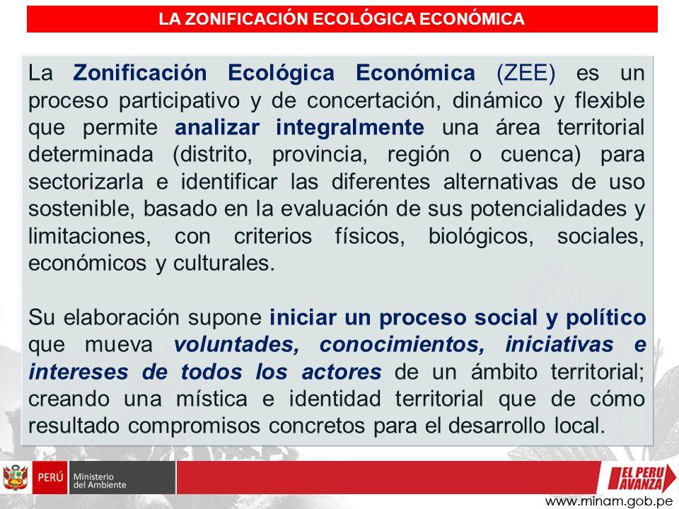 LA ZONIFICACIÓN ECOLÓGICA ECONÓMICA La Zonificación Ecológica Económica (ZEE) es un proceso participativo y de concertación, dinámico y flexible que p