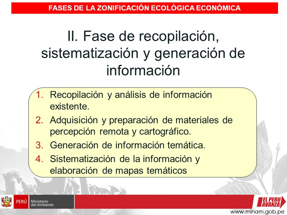 II. Fase de recopilación, sistematización y generación de información 1.Recopilación y análisis de información existente. 2.Adquisición y preparación