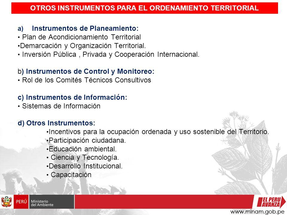 a) Instrumentos de Planeamiento: Plan de Acondicionamiento Territorial Demarcación y Organización Territorial. Inversión Pública, Privada y Cooperació