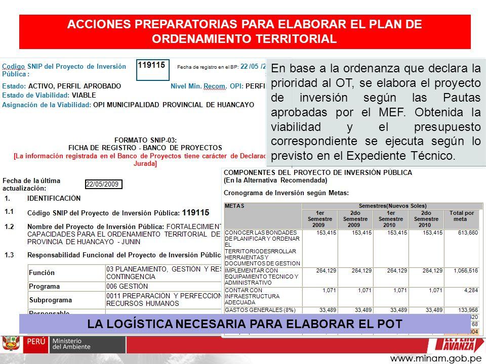 En base a la ordenanza que declara la prioridad al OT, se elabora el proyecto de inversión según las Pautas aprobadas por el MEF. Obtenida la viabilid
