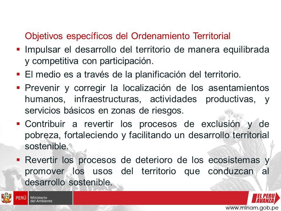 Objetivos específicos del Ordenamiento Territorial Impulsar el desarrollo del territorio de manera equilibrada y competitiva con participación. El med