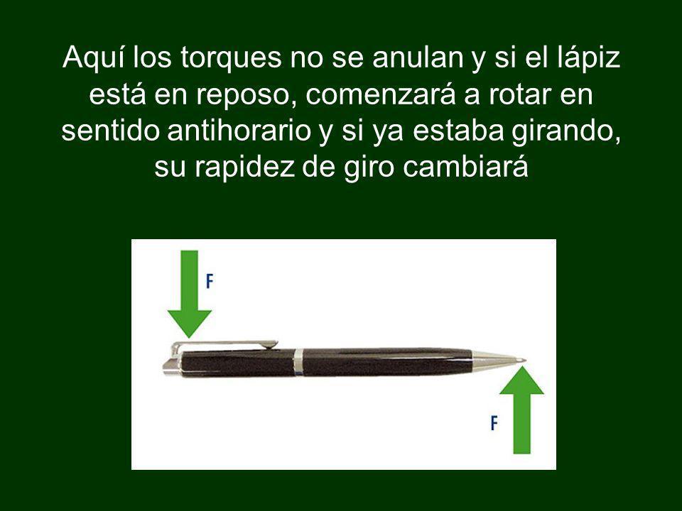 Aquí los torques no se anulan y si el lápiz está en reposo, comenzará a rotar en sentido antihorario y si ya estaba girando, su rapidez de giro cambia