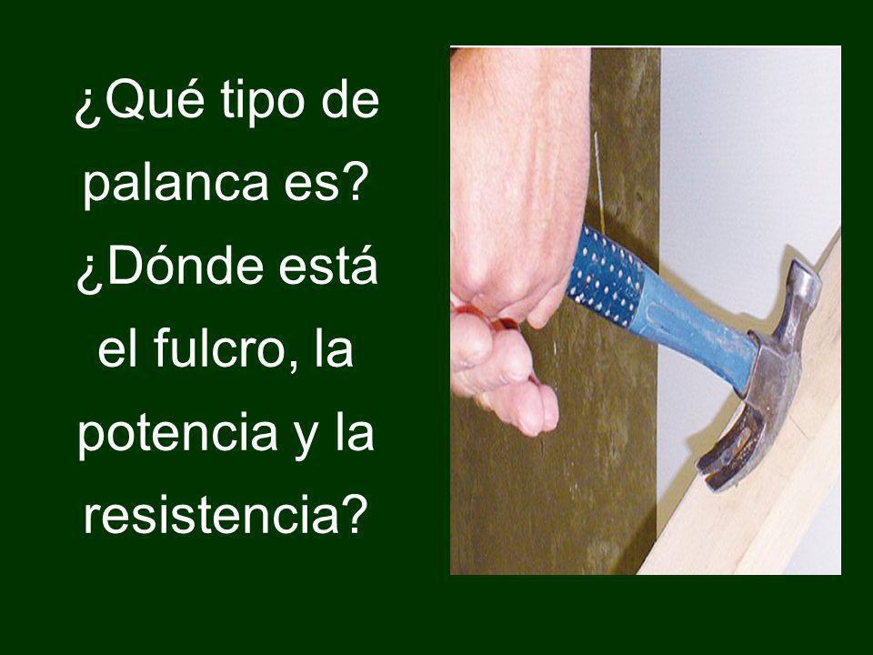 ¿Qué tipo de palanca es? ¿Dónde está el fulcro, la potencia y la resistencia?