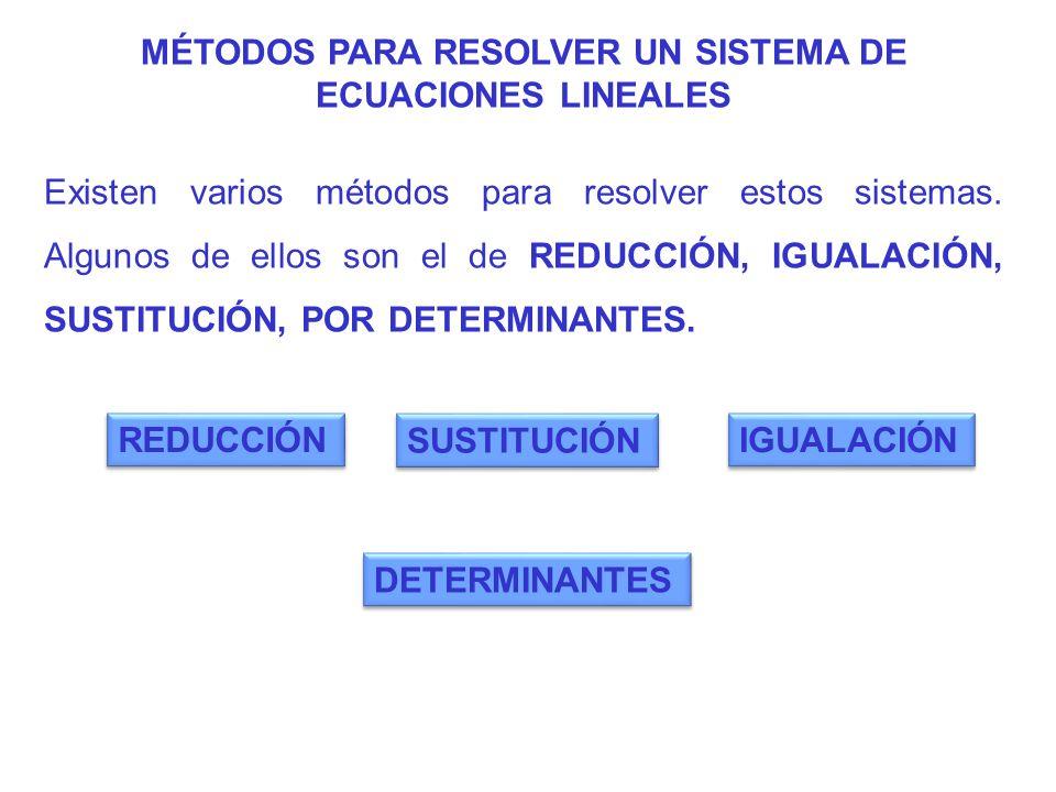 MÉTODOS PARA RESOLVER UN SISTEMA DE ECUACIONES LINEALES Existen varios métodos para resolver estos sistemas. Algunos de ellos son el de REDUCCIÓN, IGU