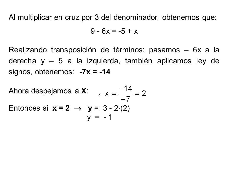 Al multiplicar en cruz por 3 del denominador, obtenemos que: 9 - 6x = -5 + x Realizando transposición de términos: pasamos – 6x a la derecha y – 5 a l