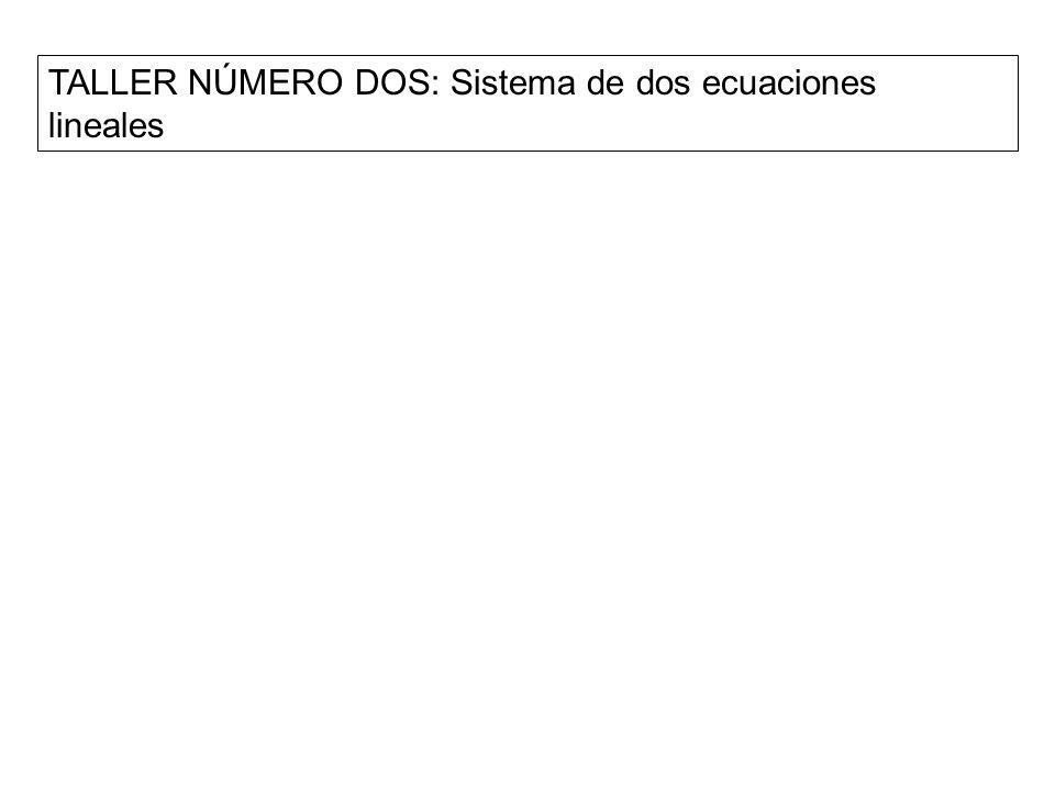 TALLER NÚMERO DOS: Sistema de dos ecuaciones lineales