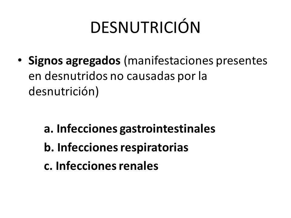 Signos agregados (manifestaciones presentes en desnutridos no causadas por la desnutrición) a. Infecciones gastrointestinales b. Infecciones respirato