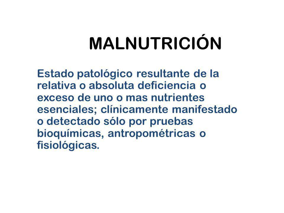 MALNUTRICIÓN Estado patológico resultante de la relativa o absoluta deficiencia o exceso de uno o mas nutrientes esenciales; clínicamente manifestado