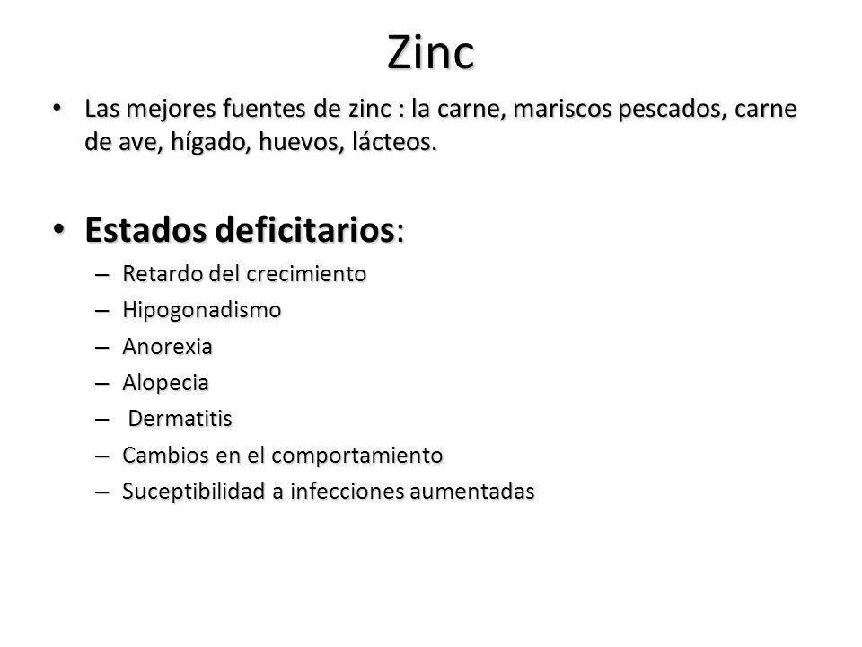 Zinc Las mejores fuentes de zinc : la carne, mariscos pescados, carne de ave, hígado, huevos, lácteos. Las mejores fuentes de zinc : la carne, marisco