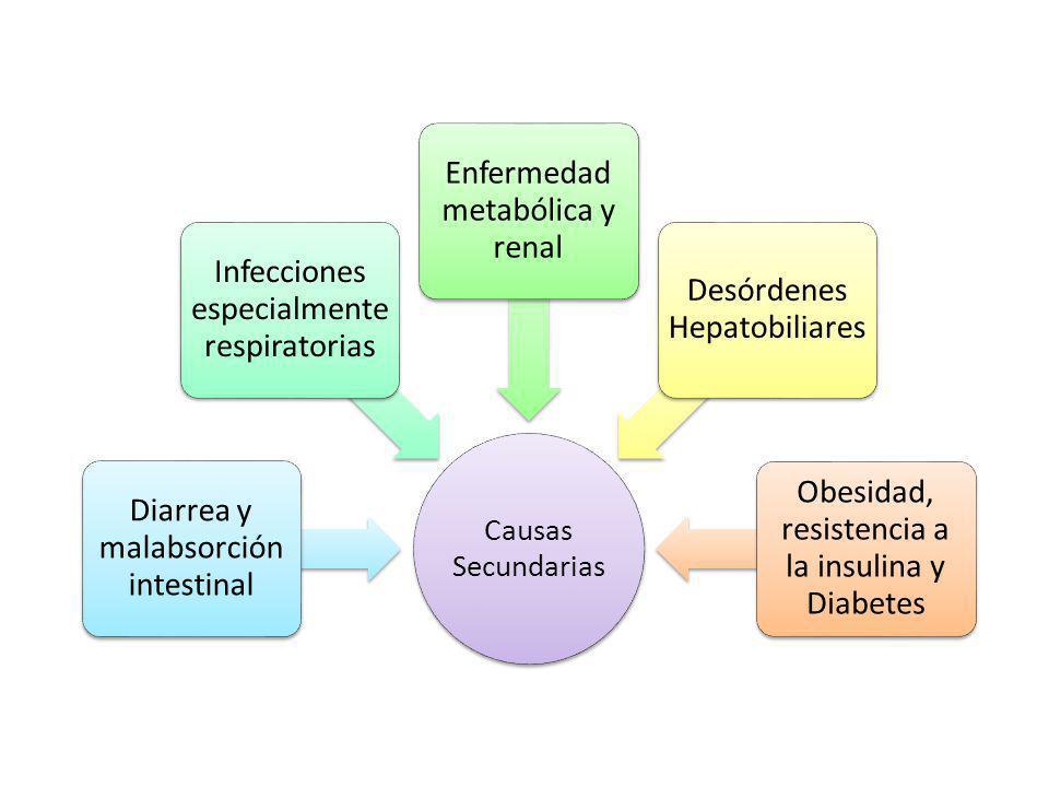Causas Secundarias Diarrea y malabsorción intestinal Infecciones especialment e respiratorias Enfermedad metabólica y renal Desórdenes Hepatobiliares