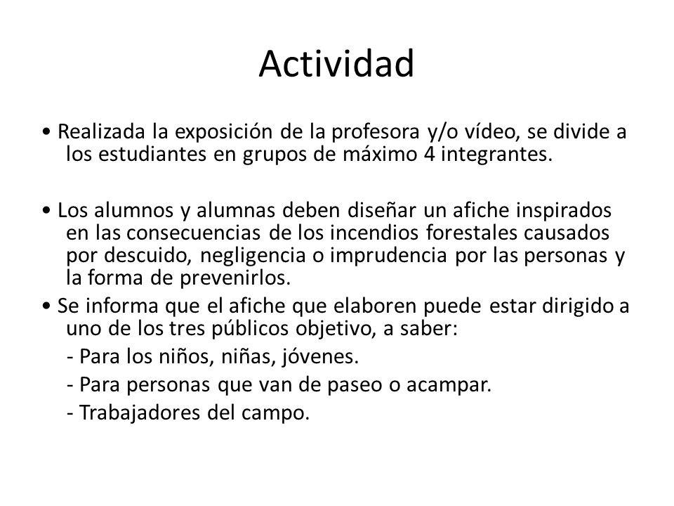 Actividad Realizada la exposición de la profesora y/o vídeo, se divide a los estudiantes en grupos de máximo 4 integrantes. Los alumnos y alumnas debe