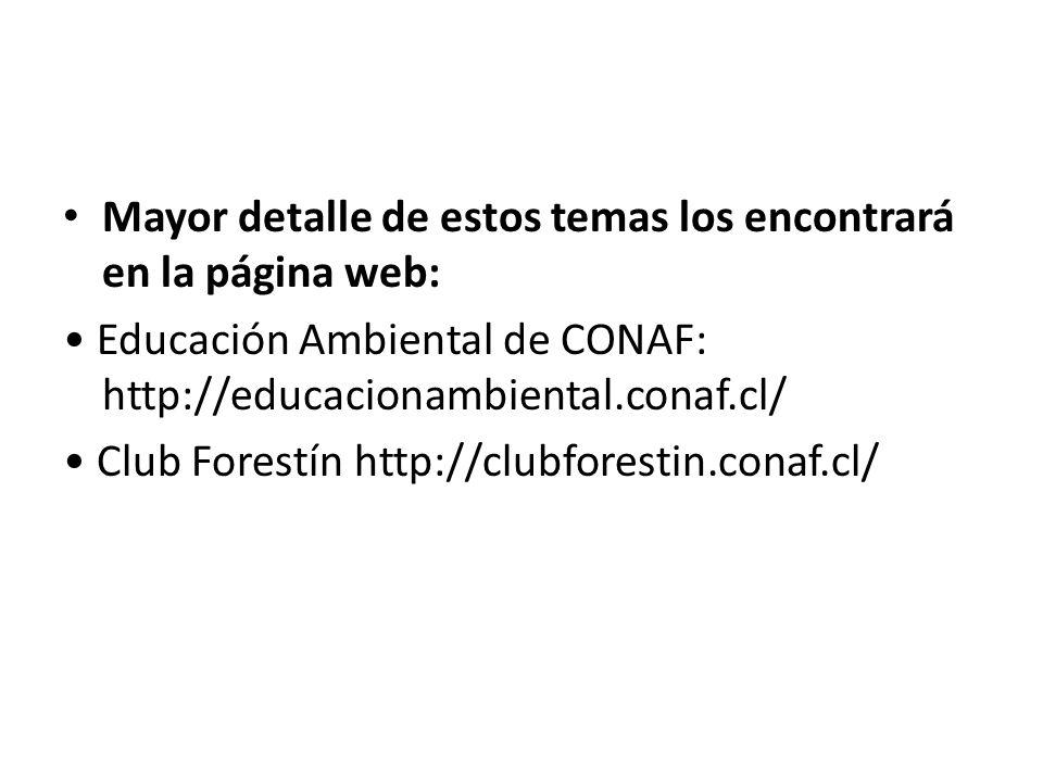 Mayor detalle de estos temas los encontrará en la página web: Educación Ambiental de CONAF: http://educacionambiental.conaf.cl/ Club Forestín http://c