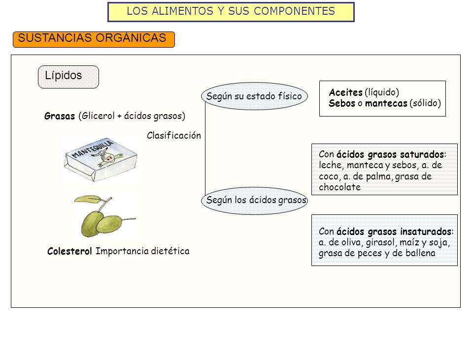 LOS ALIMENTOS Y SUS COMPONENTES SUSTANCIAS ORGÁNICAS Lípidos Clasificación Según su estado físico Según los ácidos grasos Aceites (líquido) Sebos o ma