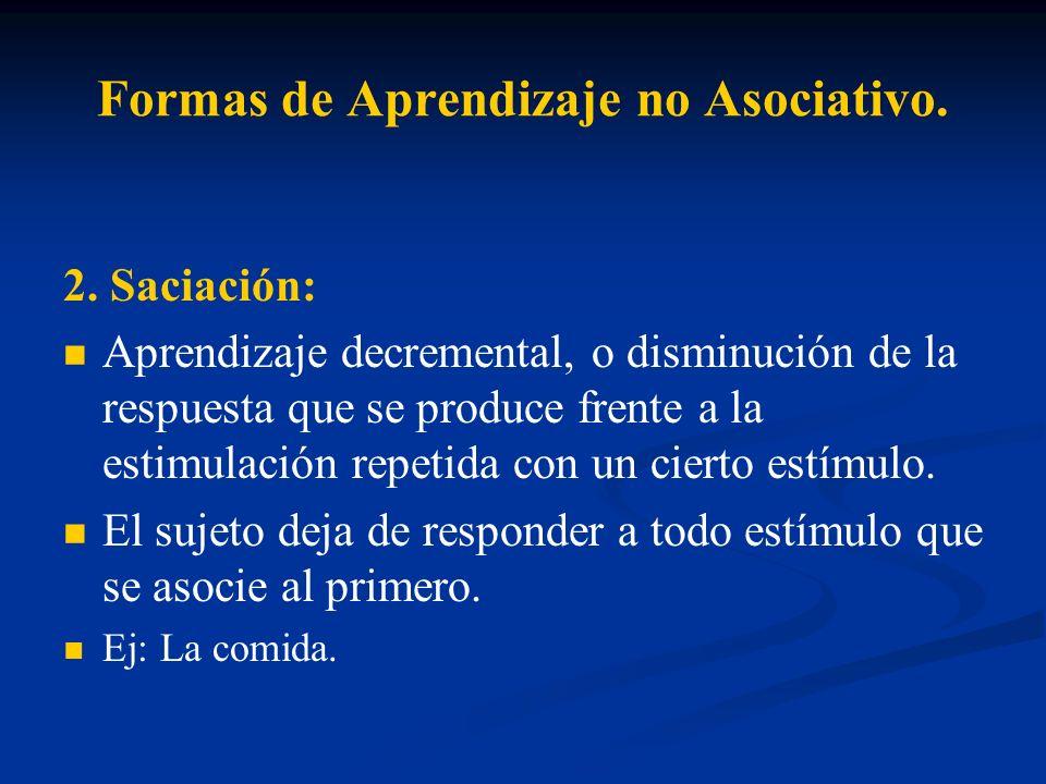Formas de Aprendizaje no Asociativo. 2. Saciación: Aprendizaje decremental, o disminución de la respuesta que se produce frente a la estimulación repe