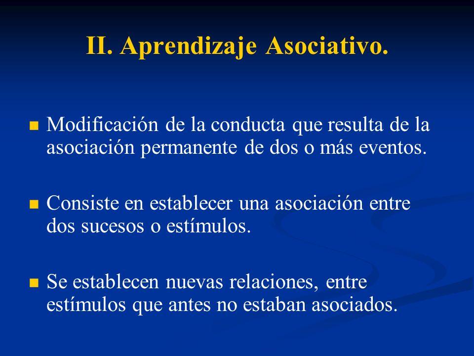 II. Aprendizaje Asociativo. Modificación de la conducta que resulta de la asociación permanente de dos o más eventos. Consiste en establecer una asoci
