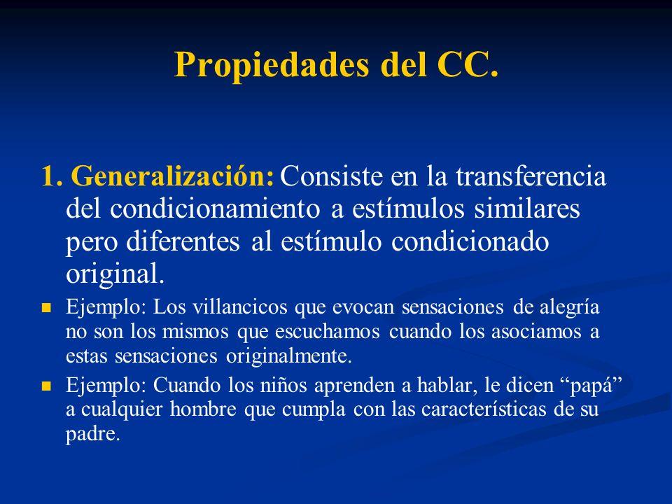 Propiedades del CC. 1. Generalización: Consiste en la transferencia del condicionamiento a estímulos similares pero diferentes al estímulo condicionad