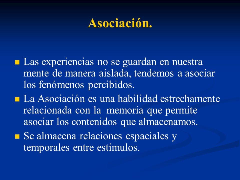 Asociación. Las experiencias no se guardan en nuestra mente de manera aislada, tendemos a asociar los fenómenos percibidos. La Asociación es una habil