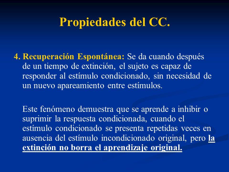Propiedades del CC. 4. Recuperación Espontánea: Se da cuando después de un tiempo de extinción, el sujeto es capaz de responder al estímulo condiciona