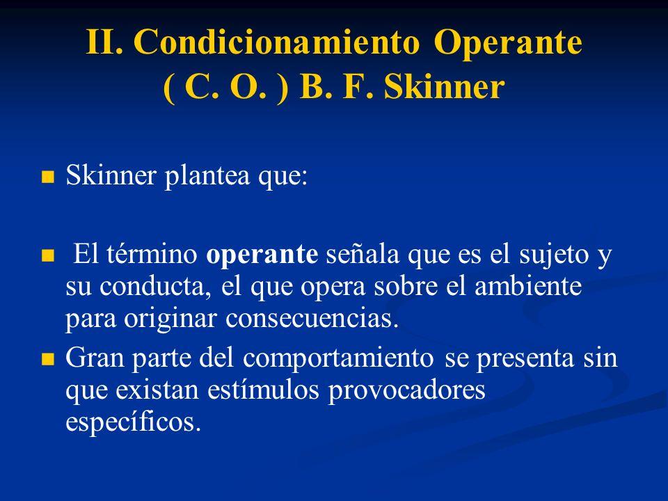 II. Condicionamiento Operante ( C. O. ) B. F. Skinner Skinner plantea que: El término operante señala que es el sujeto y su conducta, el que opera sob