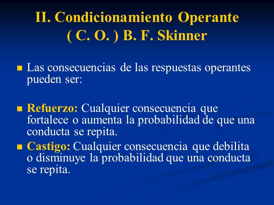 II. Condicionamiento Operante ( C. O. ) B. F. Skinner Las consecuencias de las respuestas operantes pueden ser: Refuerzo: Cualquier consecuencia que f