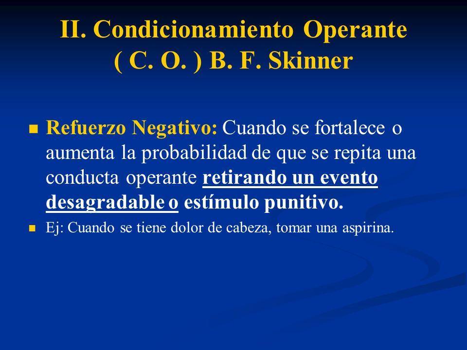 II. Condicionamiento Operante ( C. O. ) B. F. Skinner Refuerzo Negativo: Cuando se fortalece o aumenta la probabilidad de que se repita una conducta o