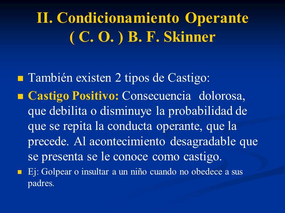 II. Condicionamiento Operante ( C. O. ) B. F. Skinner También existen 2 tipos de Castigo: Castigo Positivo: Consecuencia dolorosa, que debilita o dism