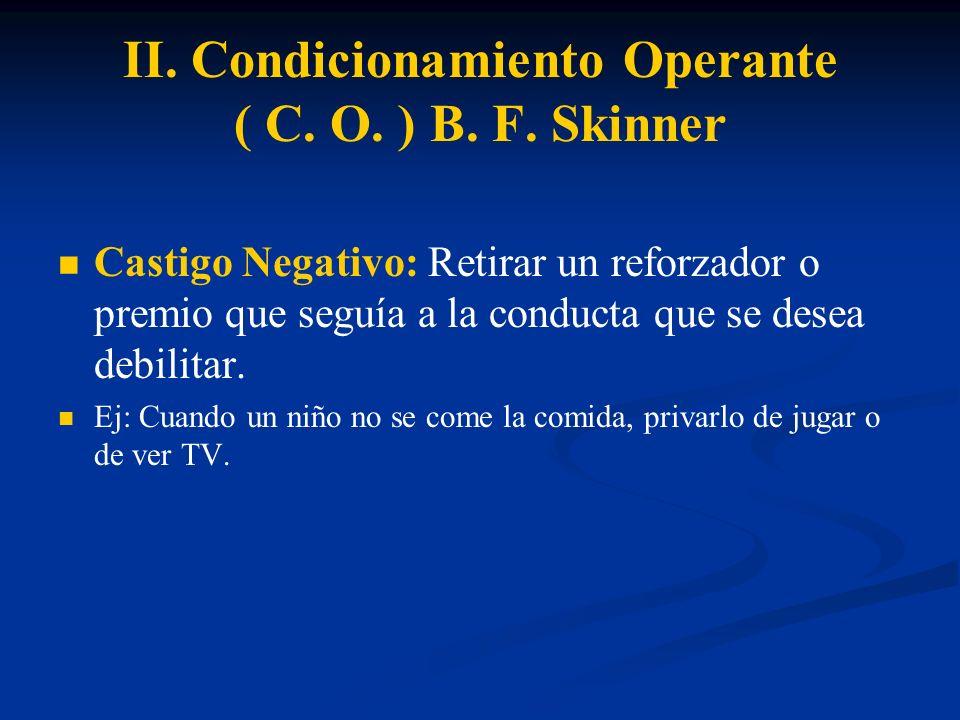 II. Condicionamiento Operante ( C. O. ) B. F. Skinner Castigo Negativo: Retirar un reforzador o premio que seguía a la conducta que se desea debilitar