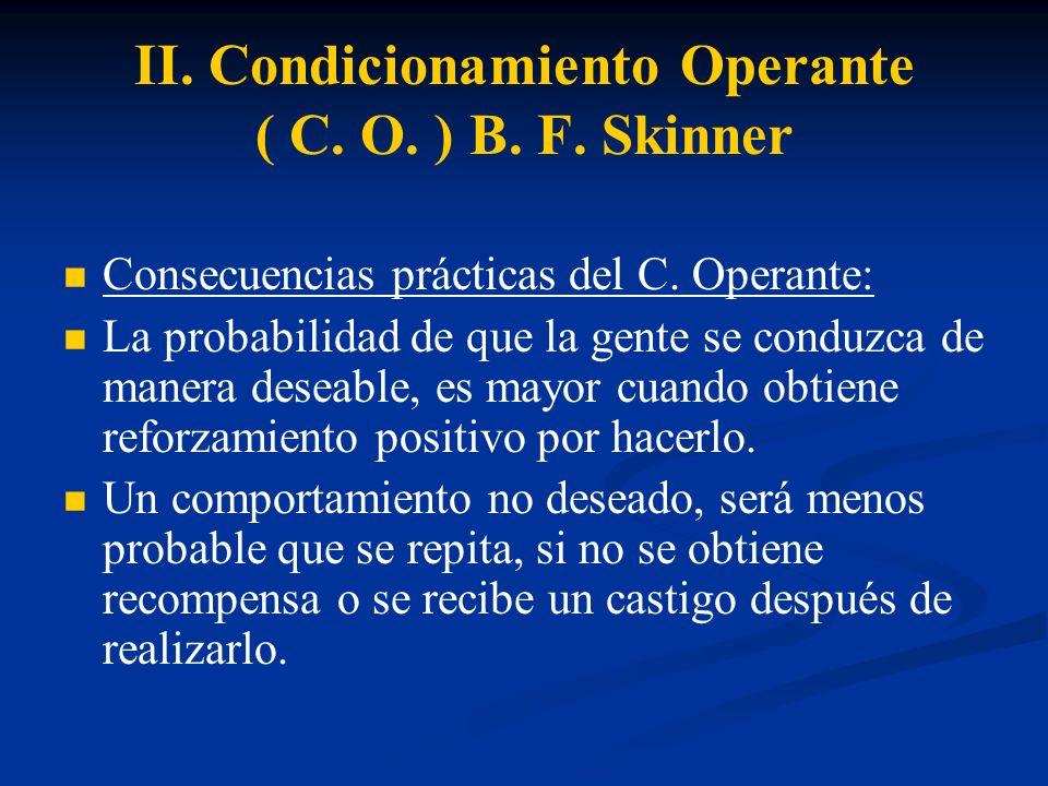 II. Condicionamiento Operante ( C. O. ) B. F. Skinner Consecuencias prácticas del C. Operante: La probabilidad de que la gente se conduzca de manera d