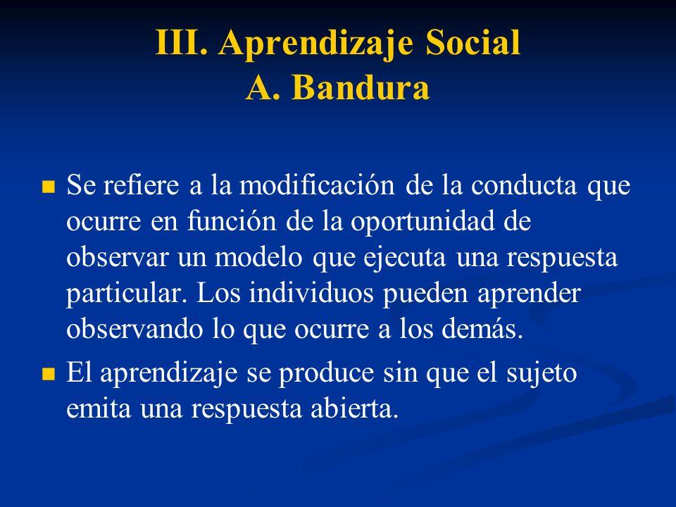 III. Aprendizaje Social A. Bandura Se refiere a la modificación de la conducta que ocurre en función de la oportunidad de observar un modelo que ejecu
