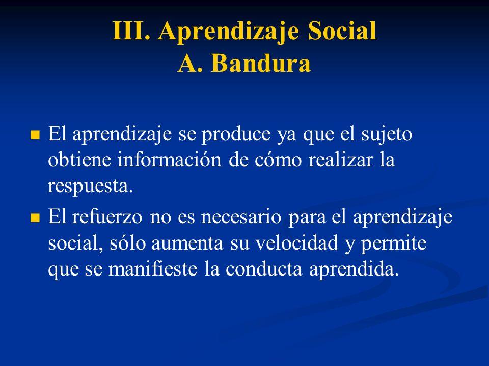 III. Aprendizaje Social A. Bandura El aprendizaje se produce ya que el sujeto obtiene información de cómo realizar la respuesta. El refuerzo no es nec