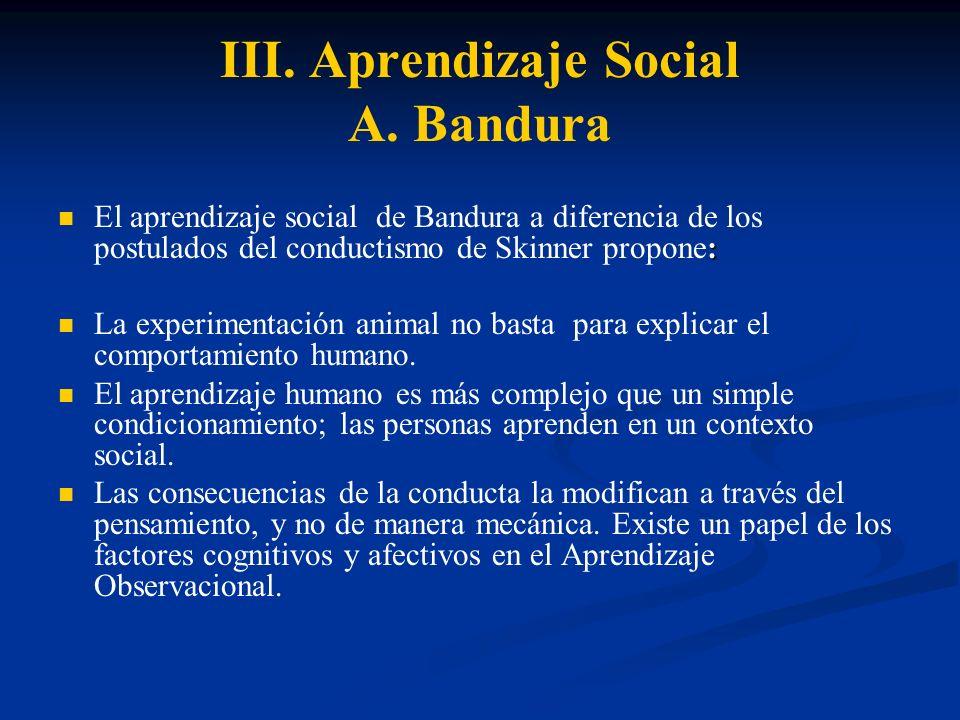 III. Aprendizaje Social A. Bandura : El aprendizaje social de Bandura a diferencia de los postulados del conductismo de Skinner propone: La experiment