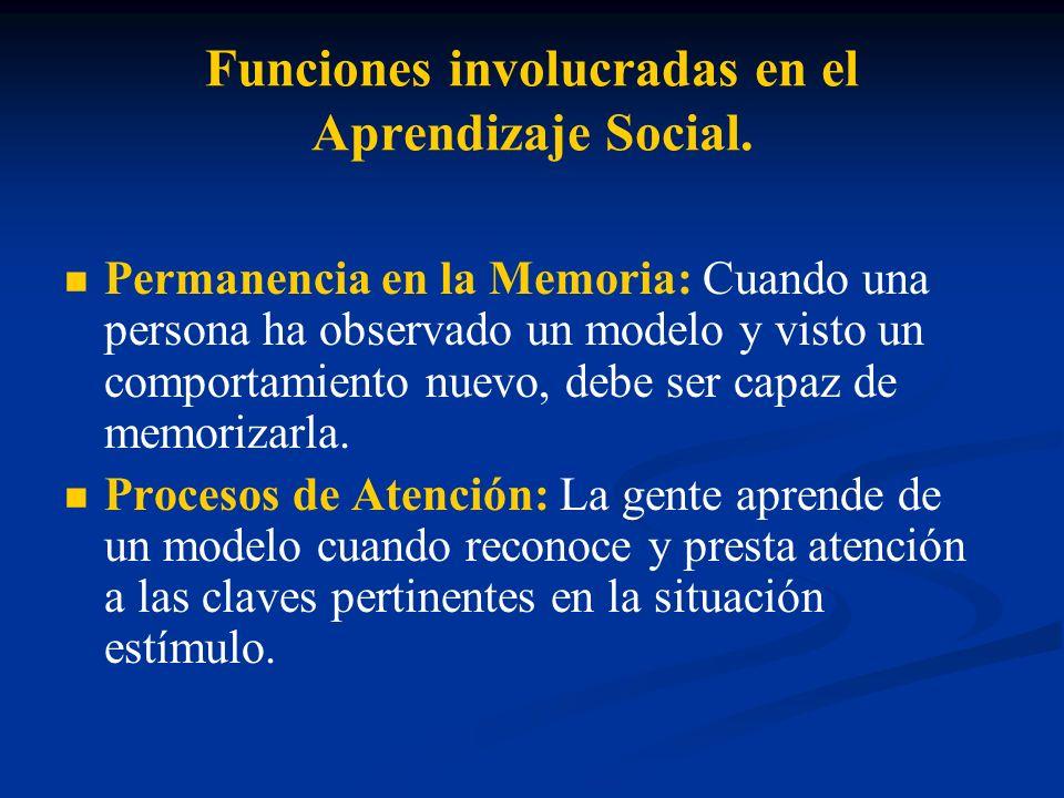 Funciones involucradas en el Aprendizaje Social. Permanencia en la Memoria: Cuando una persona ha observado un modelo y visto un comportamiento nuevo,